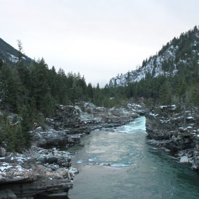 Kootenai River just downstream of Kootenai Falls (view from foot bridge)